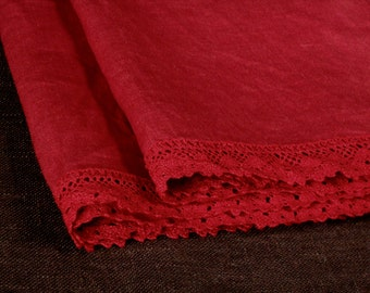 Red kitchen towels, linen guest towels with lace, set of 2 hand towels, pure linen face towels