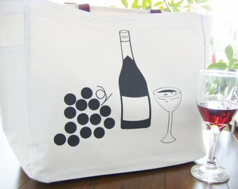 Wine themed tote bag - wine themed gift - polyester tote bag - wine event/tasting tote bag - original design wine bag - wine bottle tote bag