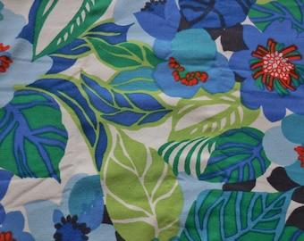 Vintage Fabric Blue Floral