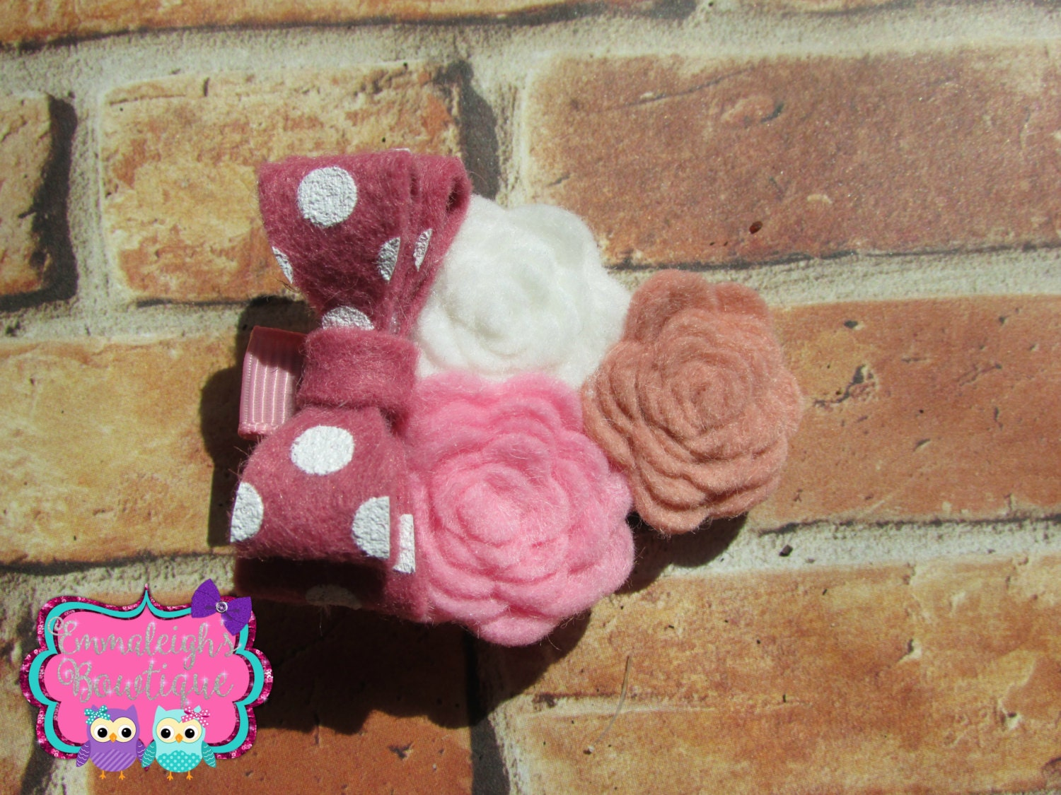 Mini Felt Flower Trio With Mini Stacked Felt by EmmaleighsBowtique