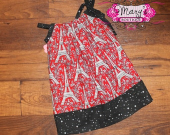 2t Red and Black Eiffel Towers Pillowcase dress