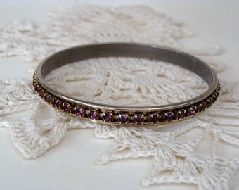 Vintage Bangle Bracelet Pronged Purple Rhinestones