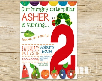 Hungry Caterpillar Birthday Party Invitation, Hungry Caterpillar Invite, Custom Hungry Caterpillar Birthday, Favor Tags, PRINTABLE DIGITAL