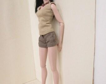 FR2 Fashion Royalty Nuface new body doll,  shorts and undershirts khaki