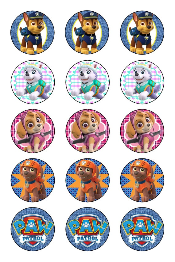 paw patrol 1 inch flat back pin back hollow by kraftykre8tions. Black Bedroom Furniture Sets. Home Design Ideas