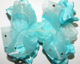 Glitzy Ruffle Bow, Turquoise Hair Bow, Baby Ruffle Clips, Toddler Organza Ruffle Hair Bow, Flower Girls Birthday Cupcake Pageant 3 Inch Bows