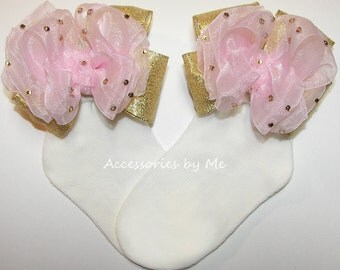 Glitzy Bow Socks, Pink Gold Socks, Organza Metallic Embellished Socks, Babies Toddler Girls Princess Birthday Pageant Dress Up Accessories