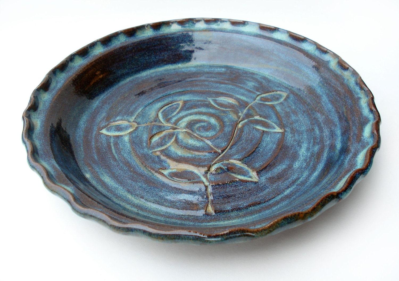 Blue Ceramic Pie Plate Pottery Pie Dish Stoneware By