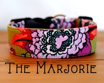 "Olive & Purple Modern Floral Dog Collar ""The Marjorie"""
