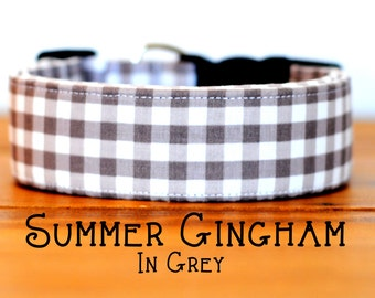 Modern Summery Gingham Dog Collar in Grey