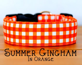 Modern Summery Gingham Dog Collar in Orange