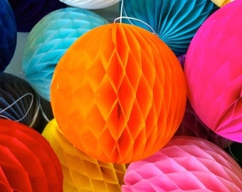 Orange 4 Inch Honeycomb Tissue Paper Balls - Paper Party Decor Decoration Supplies