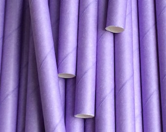25 Lilac Paper Drinking Straws - Party Decor Supplies Tableware