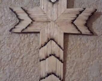 Rustic matchstick cross