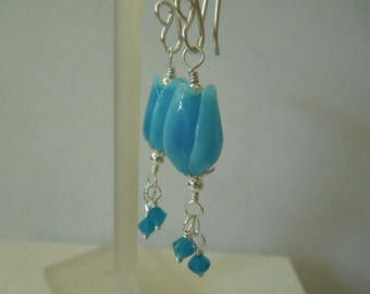 Turquoise Tulip Earrings -- Artisan Lampwork Glass Beads--All sterling silver