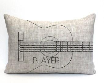 "guitar pillow, music lover gift, guitar player gift, musical gift, music teacher gift, christmas gift  - ""The Guitar Player"""