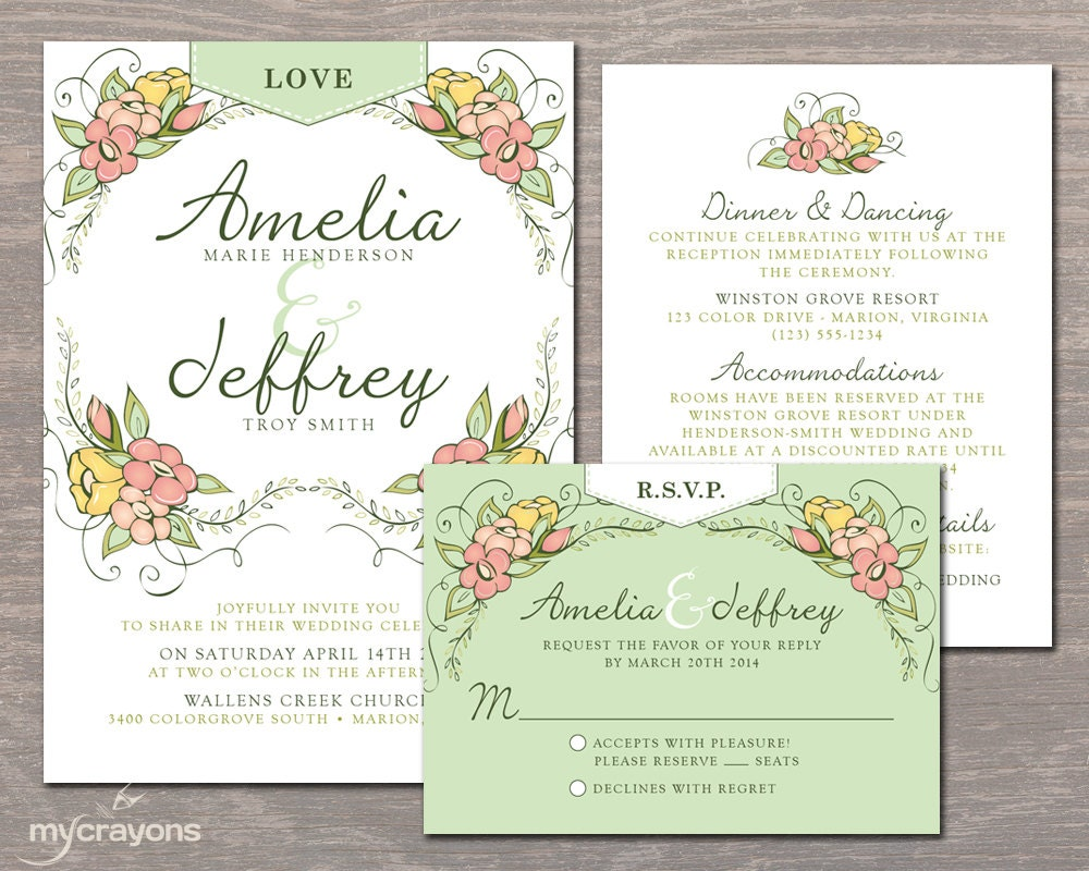 Outdoor Themed Wedding Invitations: Whimsical Garden Wedding Invitation Set Floral By