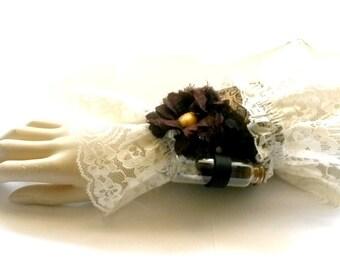 Lace Cuff Bracelet Victorian Steampunk bracer leather vial