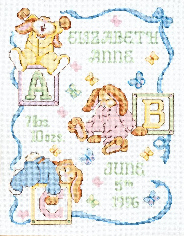 Cross Stitch Kit Sleepy Bunnies Baby Birth By