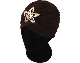 Stretch Turban Hat Hijab with Flower Gold Arabesque Applique