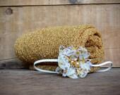 Set: Mustard Stretch Knit Wrap and Headband, newborn baby layer photography prop
