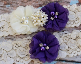 Purple Garter Set , Wedding Garter Set , Ivory Garter , Garter ,Lace Garter Set , Bridal Garter