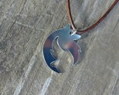 Aluminum Wolf Head Leather Chord Necklace - Animal Necklace