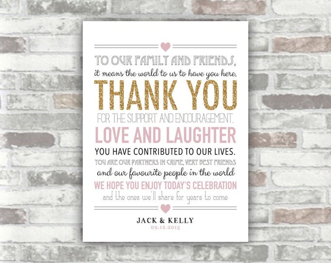 PRINTABLE FILE - Wedding Thank You Sign Table Decor - Personalised Gold Lavender - Digital image - Place setting 6x8 Print your own