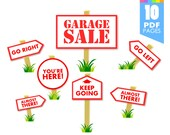 50% off sale - Garage Sale Signs - Printable template with high quality PDF pages INSTANT DOWNLOAD