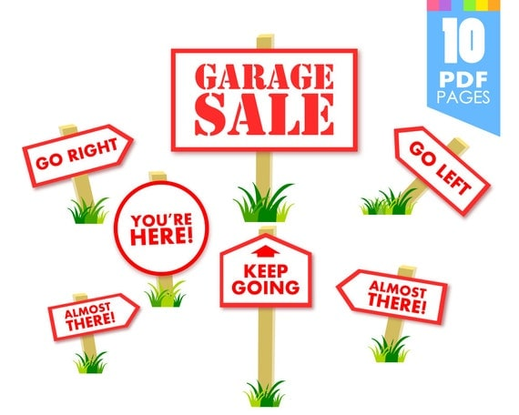 garage sale signs printable template with high quality pdf pages
