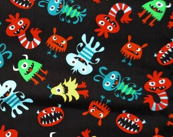 SALE One Yard Monster Bugs Kids Cotton Fabric