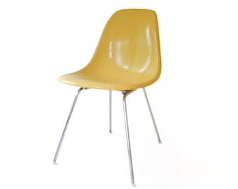 Vintage Herman Miller Eames Fiberglass Side Chair Light Ocher H Metal Base