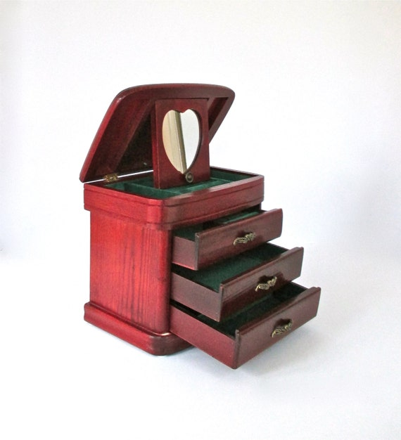 Vintage jewelry box cherry stained solid wood by for Solid wood jewelry chest