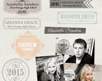Senior Graduation Word Arts Photo Overlays Vol.2 - PSD - ID181 Instant Download