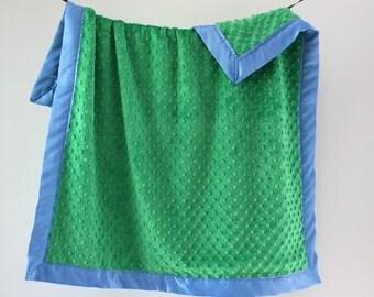 Baby Blanket, Kelly Green Minky Dot with Porcelain Blue Satin Trim