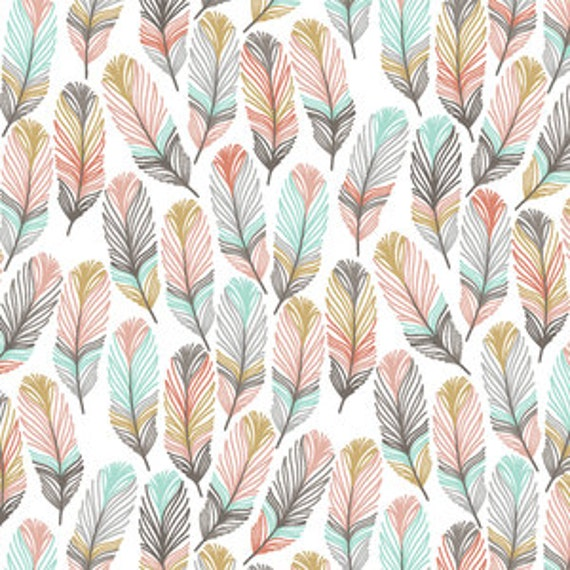 Baby Bedding Crib Bedding Pink Gold Mint Feathers