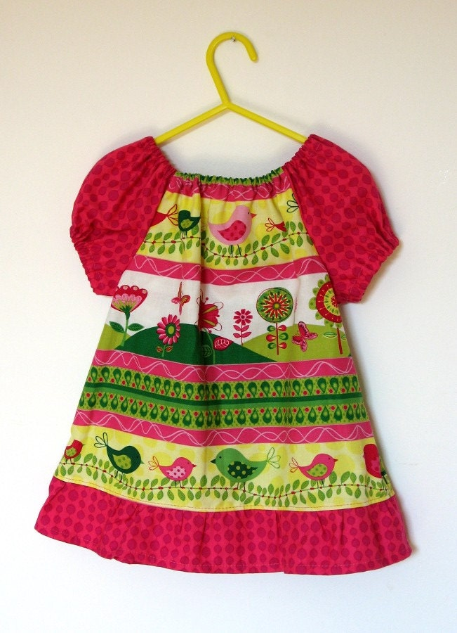 Birthday Gift SALE Baby Peasant Dress In Spring Chick With Pink Sleeves Size 1 2 Years
