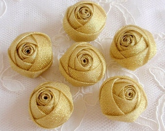 6 Handmade Rolled Roses (1-1/4 inches) in Gold My-329