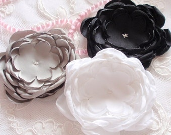 3 Larger Singed Flowers Singed Roses Satin Flowers Satin Roses (3-1/4 inches) MY-353-12 Ready To Ship