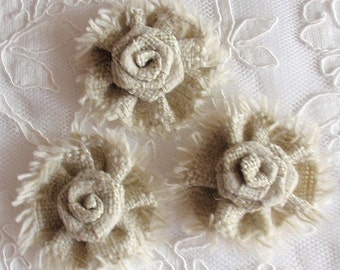 3 Larger Linen Flowers Fabric Flowers (2-1/4 inches) MY-370-03 Ready To Ship