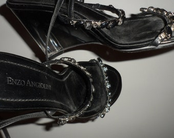 enzo angiolini black smokey pkastic rhinestone  strappy  wedge sandels size 6 but fit me a 6.5  see measures