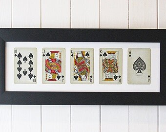 Framed Royal Flush Playing Cards