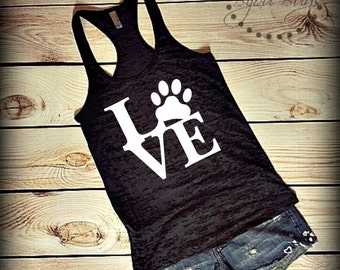 Puppy Love - Design on Racerback, Burnout Tank Top- Sizes S-XL. Other Colors Available