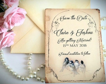 Save the date vintage birds set of 100