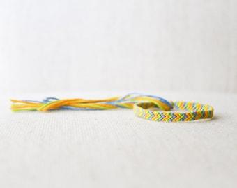 Friendship Bracelet Chevron Light Blue, Light Green and Yellow Woven Bracelet