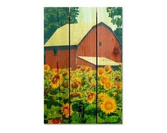 16x24 Sunflower Barn on Cedar,  Wooden Wall Hanging Art, Home Decor, Indoor Outdoor Safe. (SFB1624)