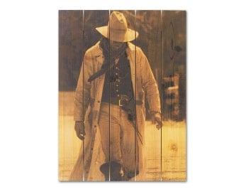 28x36 Cowboy on Cedar, High Noon, Home Decor, Wall Hanging, Cedar Western Art, Old West, Inside and Outside Art (HIN2836)