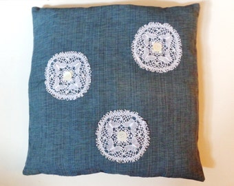 Linen Weave Pillow with Vintage Lace Doilies,Vintage Pearl Buttons 18 x 18,Shabby Chic,Cottage Chic,Farmhouse,Country