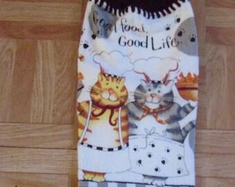 Crocheted  Hang Towel- Cats