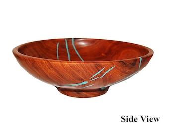 Treestump Woodcrafts Salad Bowl Mesquite/Turquoise
